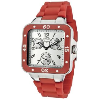 Invicta Womens Angel Light Silver Dial Red Orange Rubber Watch