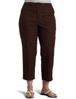 Sag Harbor Womens Crop Pant,Brown,14 Clothing