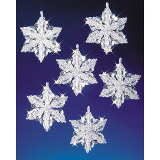 Holiday Beaded Ornament Kit Snow Crystals 3 1/2 Makes 6