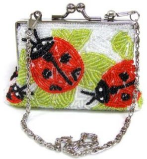 Womens LadyBug White Beaded Purse Clothing
