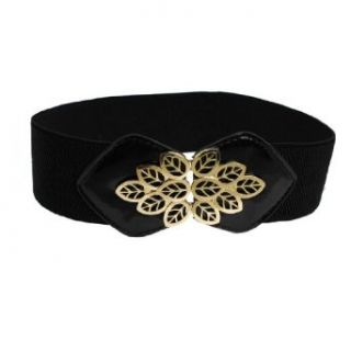 Allegra K Lady Black Faux Leather Metal Leaf Decor Elastic