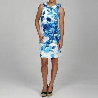 Ellen Tracy Womens Ruffled Sleeveless Floral Print Dress