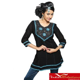 Crushed Georgette Black Ribbon and Lace Kurti/ Tunic (India