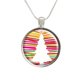 Multi Color Christmas Tree Glass Pendant and Necklace