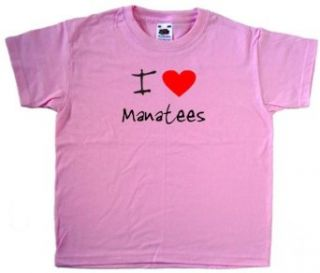 I Love Heart Manatees Pink Kids T Shirt Clothing