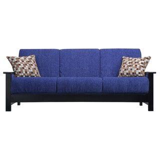 Portfolio Belfry Convert a Couch Blue Chenille Wood Arm Futon Sofa