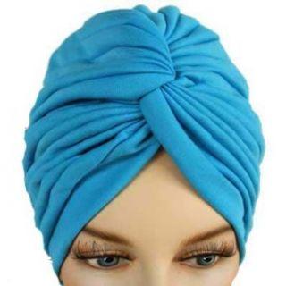 Turquoise Blue Pleated Turban Hat Head Cover Sun Cap