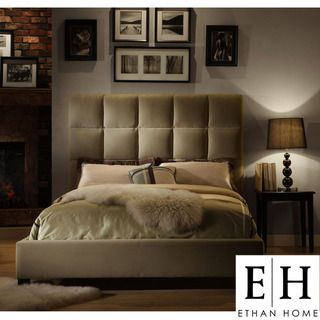 ETHAN HOME Sarajevo Queen Sized Taupe Velvet Tufted Bed