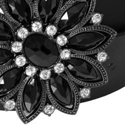 Journee Collection Womens Rhinestone Detail Buckle Leather Belt
