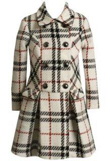 Bonnie Jean Girls 2 6x Plaid Boucle Coat Set, White, 4