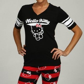 Hello Kitty Womens Varsity Star V neck Top