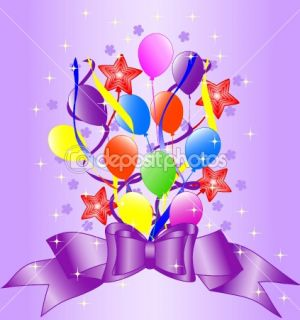 Birthday background with bow, balloons, ribbons.  Stock Vector