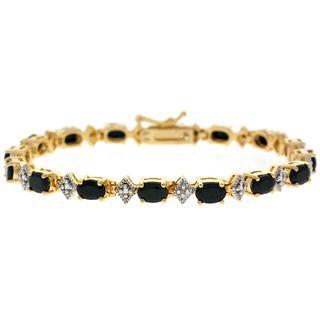 Glitzy Rocks 18k Gold over Sterling Silver Sapphire Diamond Bracelet