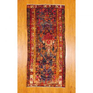 Persian Hand knotted Hamadan Blue/ Red Wool Rug (4 x 89)