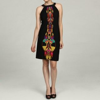 Just Taylor Womens Black Multi Tie back Neck Dress