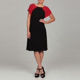 Ellen Tracy Womens Red/ Black Colorblock Dress