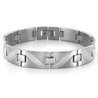 West Coast Jewelry Stainless Steel Wave Pattern Design Link Bracelet