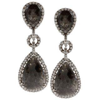 14K White Gold 21ct TDW Black Diamond Dangle Earrings (G VS1