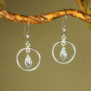Jewelry by Dawn Small Hoops With Crystal Moonlight Sterling Silver