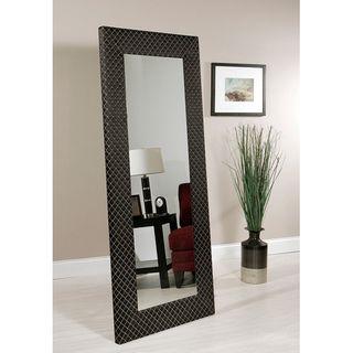 Abbyson Living Bassett Black Patteren Fabric Floor Mirror