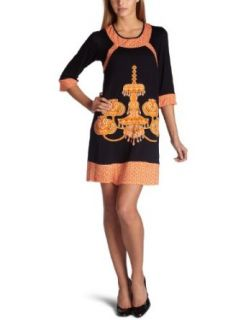 Eva Franco Womens Taylor Dress,Navy/Orange,2 Clothing