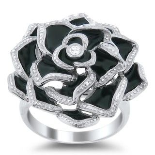 Meredith Leigh Sterling Silver White Topaz and Black Enamel Ring