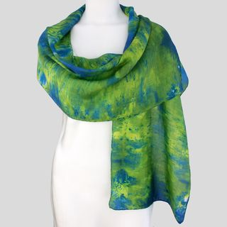Gypsy River Riches Hand dyed Limelight Washable Silk Scarf