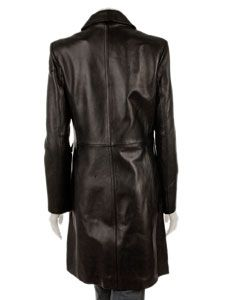 Kenneth Cole Reaction Womens Long Black Leather Coat