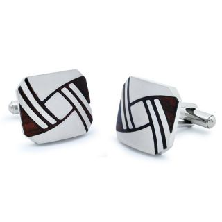 Stainless Steel Red Wood Art Deco Knot Cuff Links