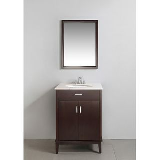 Oxford Dark Espresso Brown 24 inch Bath Vanity with 2 Doors and White