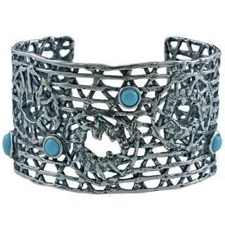 Southwest Moon Sterling Silver Sleeping Beauty Turquoise Accent Open