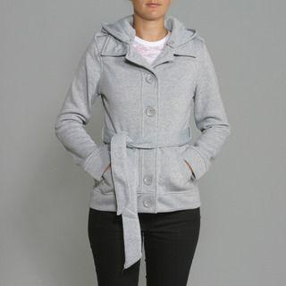 Honey Bun Womens Heather Grey Fleece Belted Coat