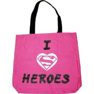 Supergirl Pink I Love Heroes Canvas Tote Bag Clothing