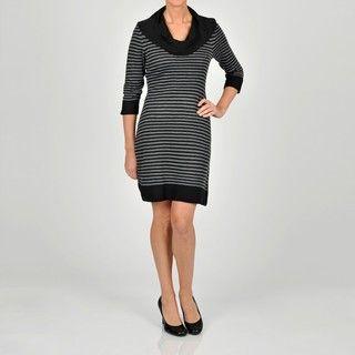 Robbie Bee Womens Striped Cowlneck Sweater Dress