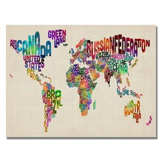 Michael Tompsett Typography World Map II Canvas Art