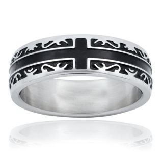 Stainless Steel Womens Black Inlay Tribal Cross Ring (6 mm