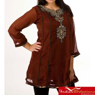 Womens Georgette Brown with Golden Embroidery Kurti/ Tunic (India