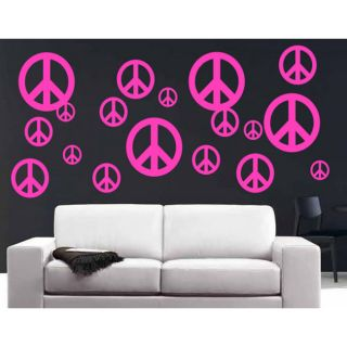 Vinyl Peace Signs 40 piece Wall Decal Set