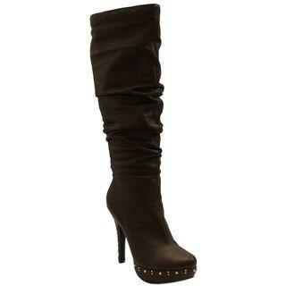 Fahrenheit Womens Opera Brown Studded Boots