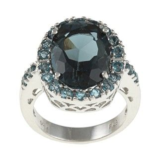 Glitzy Rocks Sterling Silver 7 CTW London Blue Topaz Cocktail Ring
