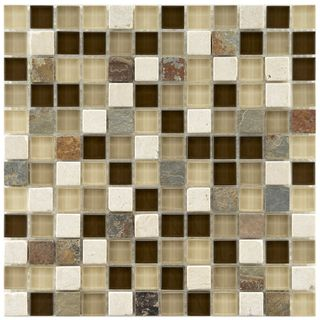 Somertile Reflections Square 1 inch Nassau Stone and Glass Mosaic