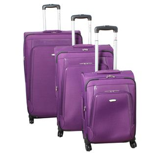 Dejuno Alliance Purple 3 piece Expandable Spinner Luggage Set