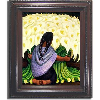 Diego Rivera Flower Seller Framed Canvas Ar