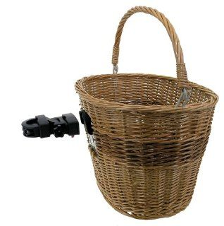 M Wave Wicker Bicycle Basket With Clip on Bracket Sports