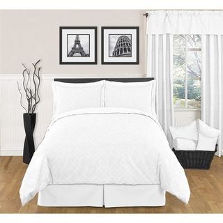Sweet JoJo Designs White Diamond 3 piece Full / Queen size Bedding Set