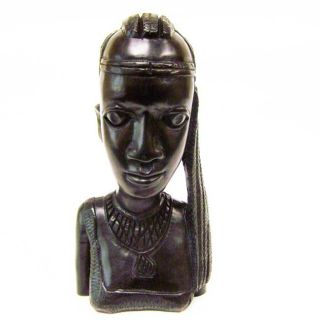 Ebony Wood Hand carved Woman Bust (Tanzania)