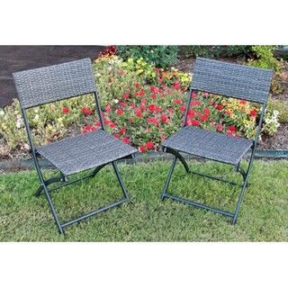 Antique Resin Wicker Folding Chairs (Set of 2)