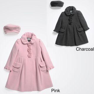 Rothschild Girls Wool Dress Coat with Matching Beret (Size 2T 6X