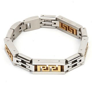Two tone Stainless Steel Mens Tribal Cutout Link Bracelet