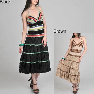 Janine of London Womens Crochet Halter Long Dress